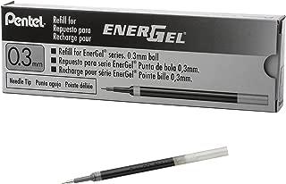 Pentel Refill Ink for EnerGel RTX Retractable Liquid Gel Pen Extra Fine Line Needle Tip, 12 Pack, 0.3mm, Black (LRN3-A)