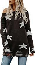 Women Graphic Sweaters Knit Chunky Loose Long Sleeve Pullover