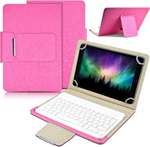 Universal 10 inch Tablet Keyboard Case,【DETUOSI】 Wireless Bluetooth Removable Keyboard+ Folio PU Leather Cover + Stand, Travel Portable PU Sleeve for iOS/Android/Windows 9.6-10.5 inch Tablet #Hot Pink