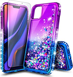 NageBee Case for iPhone 11 (2019), Glitter Liquid Floating Bling Sparkle Moving Quicksand Waterfall Girls Women Cute Protective Phone Case with Tempered Glass Screen Protector -Purple/Blue