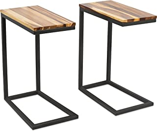 BIRDROCK HOME Acacia Wood TV Tray Side Table - Set of 2 - Industrial Design - Fully Assembled - Natural Wood Bed Sofa Snack End Table