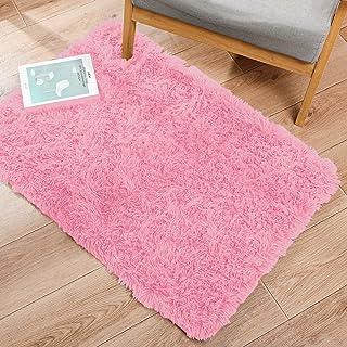 PinkShort Pile Soft Velour Plain Modern Velour carpet Shiny Round Black