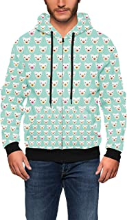 Rainbow Rules Geometric Bears on Mint Men Zip Up Hoodie
