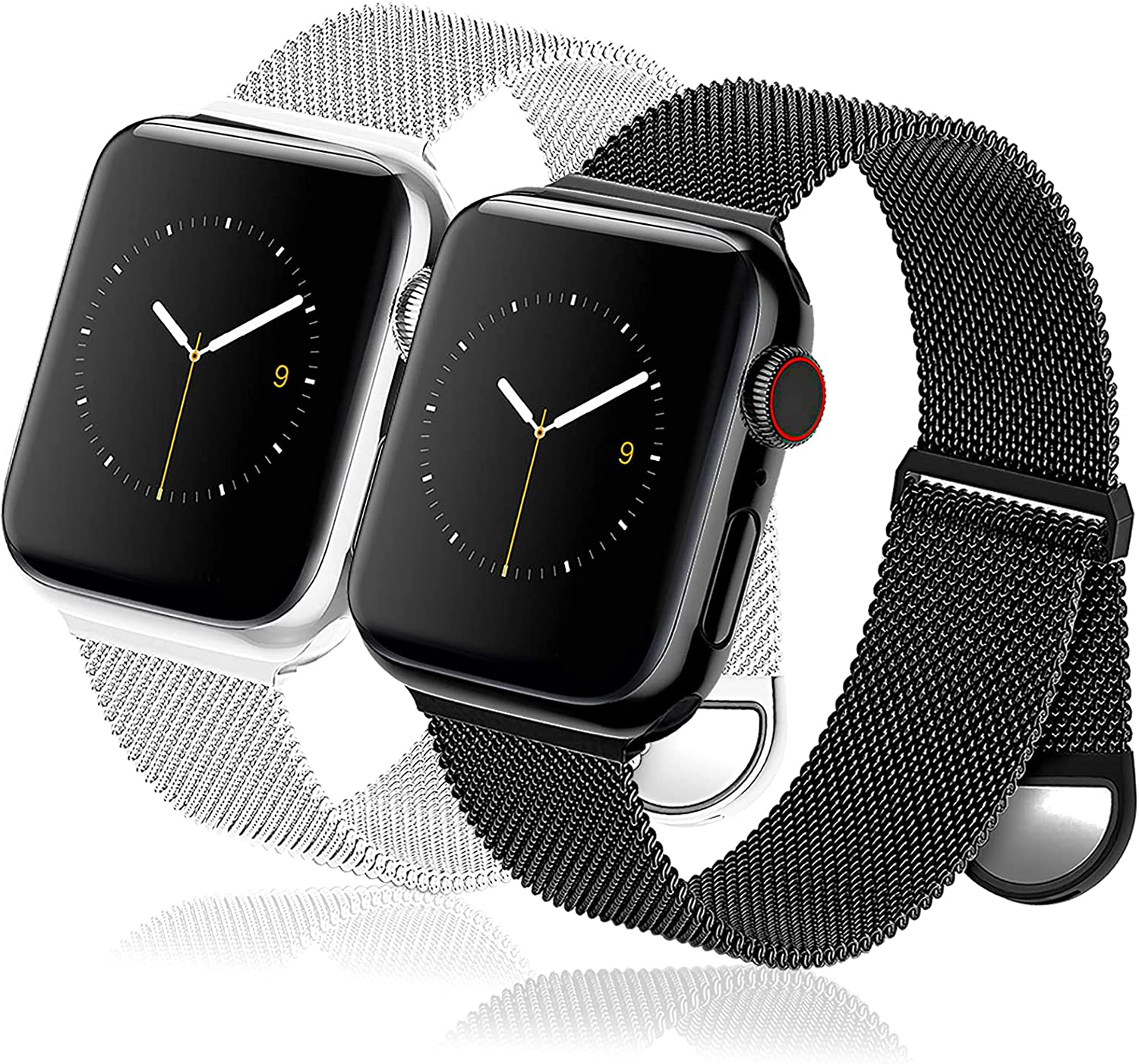 2 Pack Metal Watch Bands Compatible for Apple Watch Band 41mm 40mm 38mm 42mm 44mm 45mm for Women Men, Stainless Steel Magnetic Mesh Loop Strap Replacement for iWatch Series 7/SE/6/5/4/3/2/1