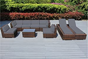 Genuine Ohana Outdoor Sectional Sofa and Chaise Lounge Set (9 Pc Set) with Free Patio Cover (Mixed Brown/Gray)