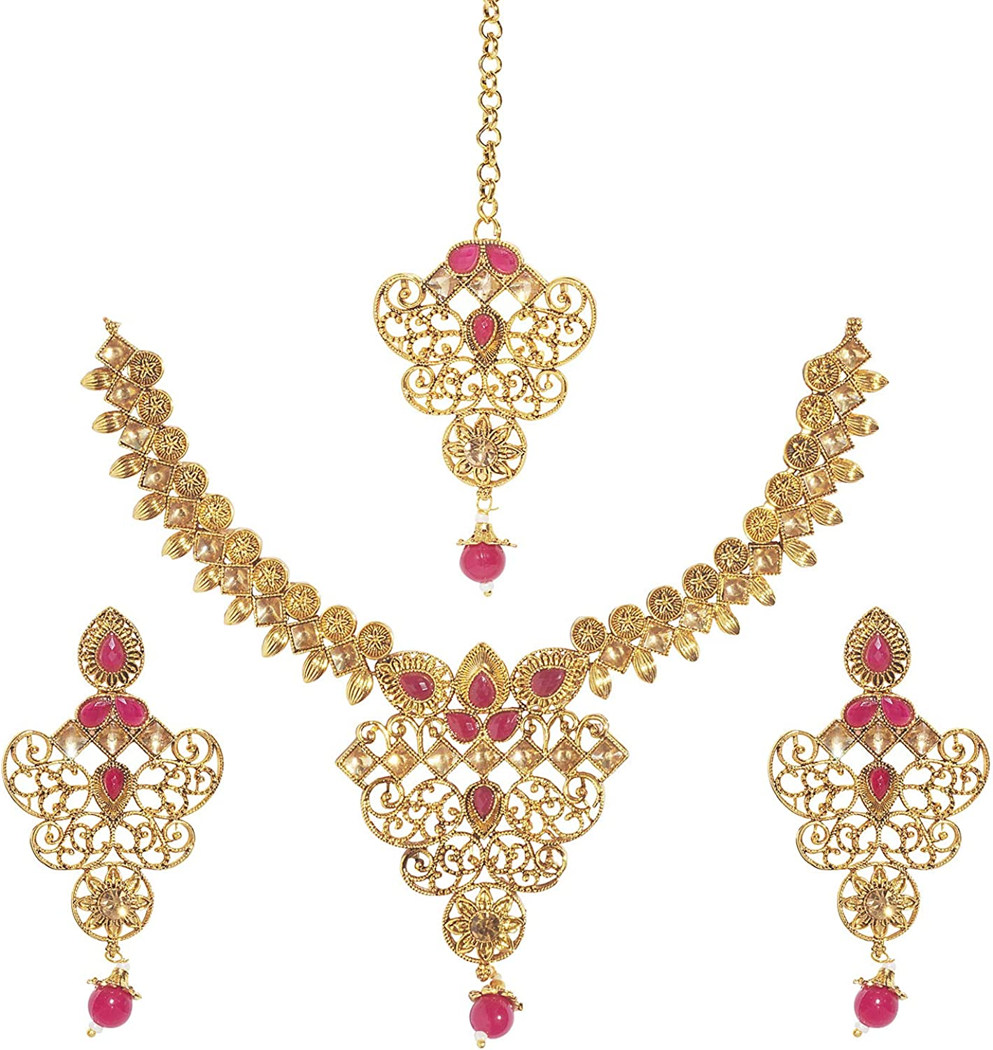 Bodha 18K Traditional Indian Bollywood Antique Gold Plated One Gram Bridal Jewellery Combo Necklace Set with Tikka and Earrings for Women (SJ_2868)
