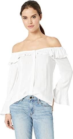 4ba627275c0c3 White. 10. Scully. Ruffle Off the Shoulder Top