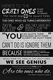 Burning Desire Poster Here's to The Crazy…Steve Jobs Motivational Quotes Poster Print 12x18 inch (Rolled)
