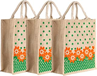 Heart Home Jute 3 Pieces Lunch Carry Bag (Green)- CTHH21872