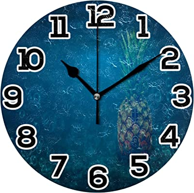 N\O Sponge Bob House Pineapple Round Wall Clock 10in Silent Non-Ticking Desk Clock Battery Operated Clocks Paintings Clock for Home Kitchen Living Room Bedroom School Office Decor