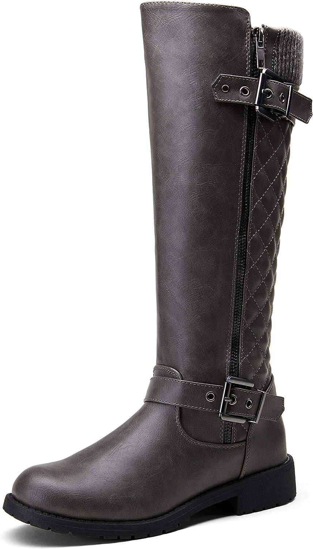 Jeossy Women's 50 Knee High Riding Boots Metal Buckle Calf Boot