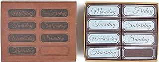 MissOrange『木製ゴム印セット』曜日スタンプ クリエイティブスタンプセット クラフトカード スクラップブッキング 手帳用 8個セットM-39 (Week)
