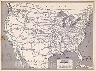 Historic Map - National Atlas - 1940 United States Railroad map - Vintage Wall Art - 44in x 33in