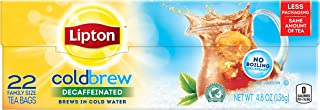 Lipton Black Iced Tea Bags, Cold Brew Decaffeinated Family Size,22 Count,4.8 ounce (Pack of 3)