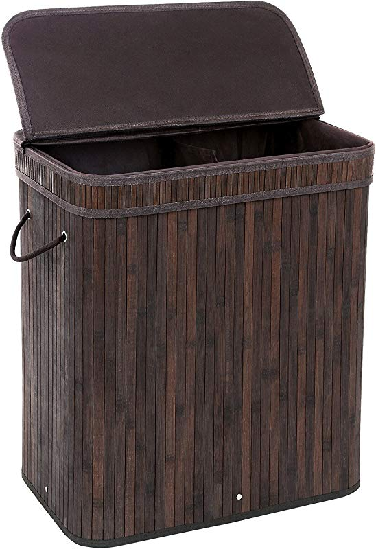 SONGMICS Divided Bamboo Laundry Basket Double Hamper With Lid Handles And Removable Liner Two Section Dirty Clothes Storage Sorter Rectangular Dark Brown ULCB64B