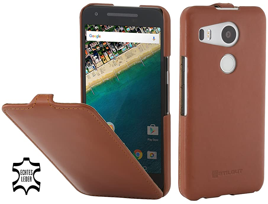 StilGut UltraSlim, Leather Case with Sleep/Wake Function for Google Nexus 5X, Cognac Brown