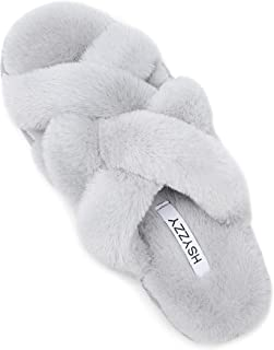 Slippers for Women Open Toe Soft Plush Cozy Memory Foam Cross Band Fur Slides House Indoor or Outdoor