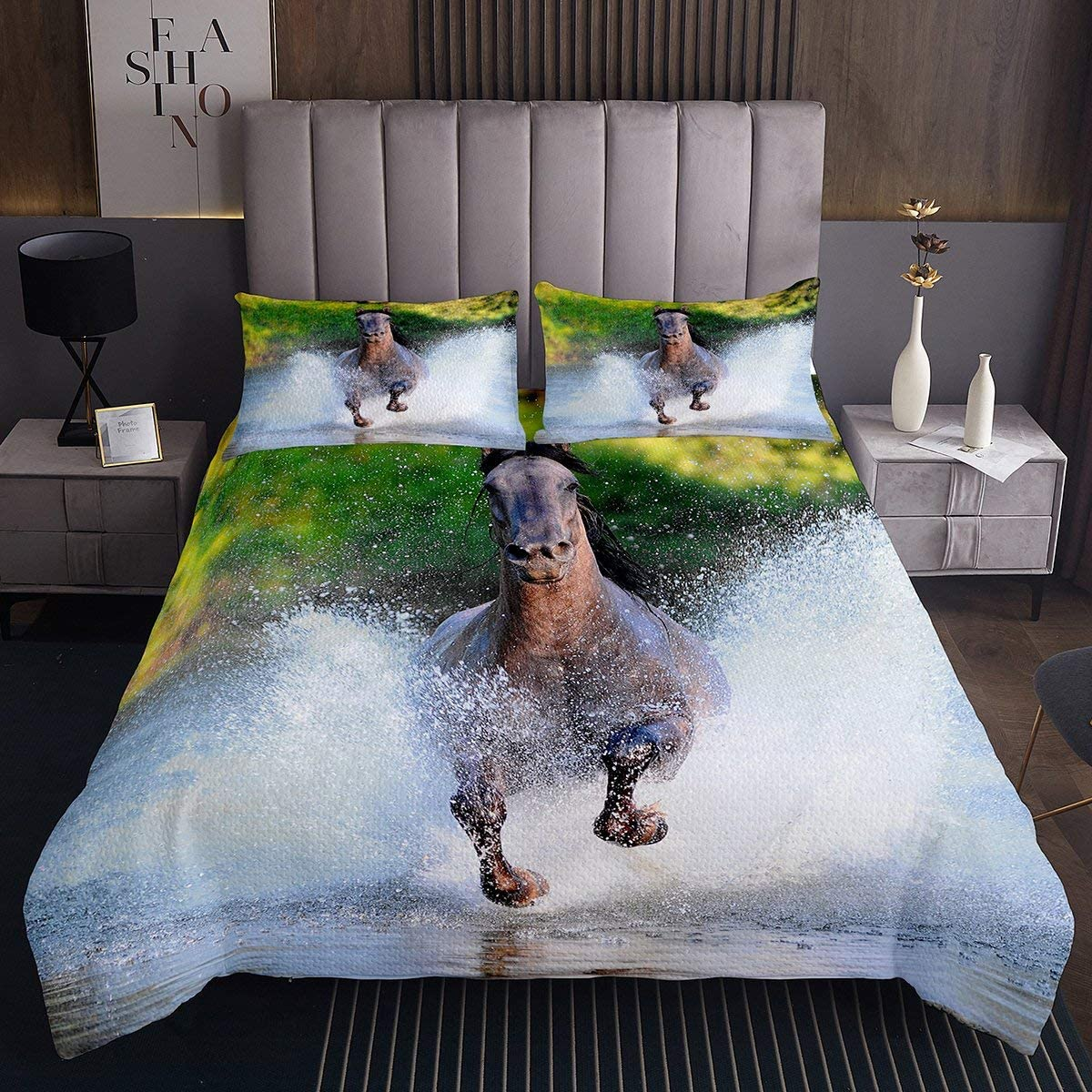 Feelyou Horse Coverlet Brown Galloping Printed Bedspread Fashionable f Elegant