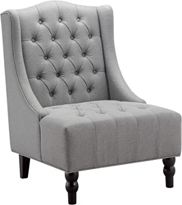 Ball & Cast Wingback Tufted Accent Chair, Tall, Grey