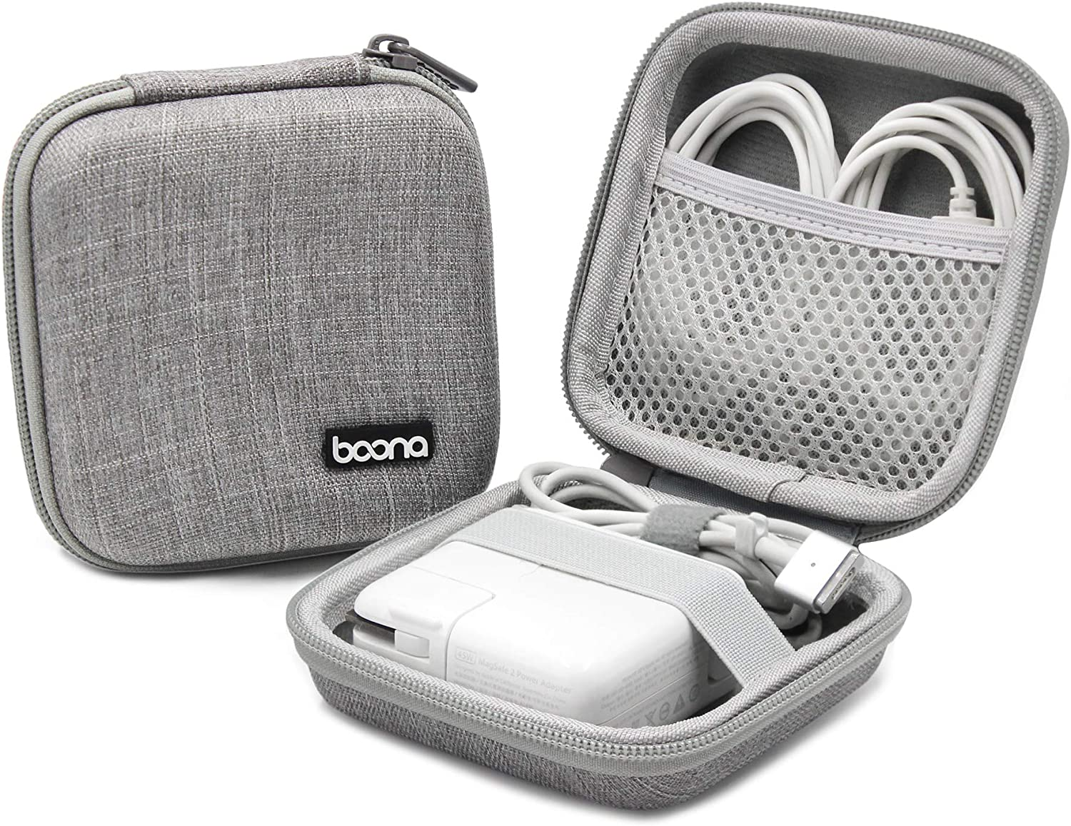 BOONA Power Adapter Exclusive Organizer Case, Hard Shell Portable Electronics Accessories Travel Storage Carrying Bag for Laptop, Gadgets, Cables, Cords, USB Drives, Earphones - Small, Grey