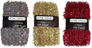 Homestreet® Extra Largo 45 Metros, 150 pies, en una selección de decoración de Navidad en Rojo, Plata o Oro.