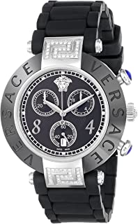 Women's 92CCS91D008 S009 Reve Black Ceramic Stainless Steel Chronograph Watch With Black Rubber Band