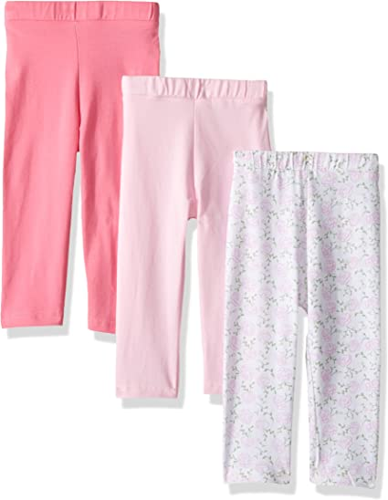Luvable Friends Girl Toddler Leggings Pink and Navy 3-Pack