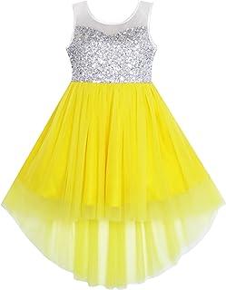 Sunny Fashion Vestito Bambina Lustrino Maglia Festa Nozze Principessa Tulle 7-14 Anni