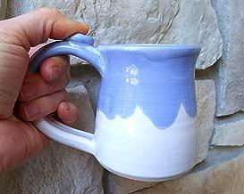 Handmade Coffee Mug, Tea Cup, Stoneware Ceramic Pottery, Cool White with Sky blue