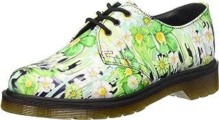 Dr. Martens Women's Slime Floral 1461 3 Eye Oxfords, Green Leather, 6 M UK, 8 M US