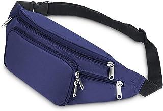 Riñonera running, SAVFY 4 Bolsillos con Cremallera Riñoneras Llevar Cinturón Ajustable para Vacaciones Senderismo, iPhone 6 6S Plus, Galaxy S4 S5 S6 S7, Azul …