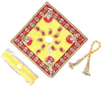 Lumi Yellow & Red Ladu Gopal Poshak Set for Krishna Ji/Kanha Ji Vastra Laddo Gopal Silk without Pagdi (6)