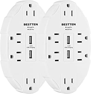 Bestten Spaced Outlet Wall Adapter Surge Protector with 2 USB Charging Ports (2.4A/Port, 3.1A Shared) and 6 AC Outlets, ETL Certified, [2 Pack]