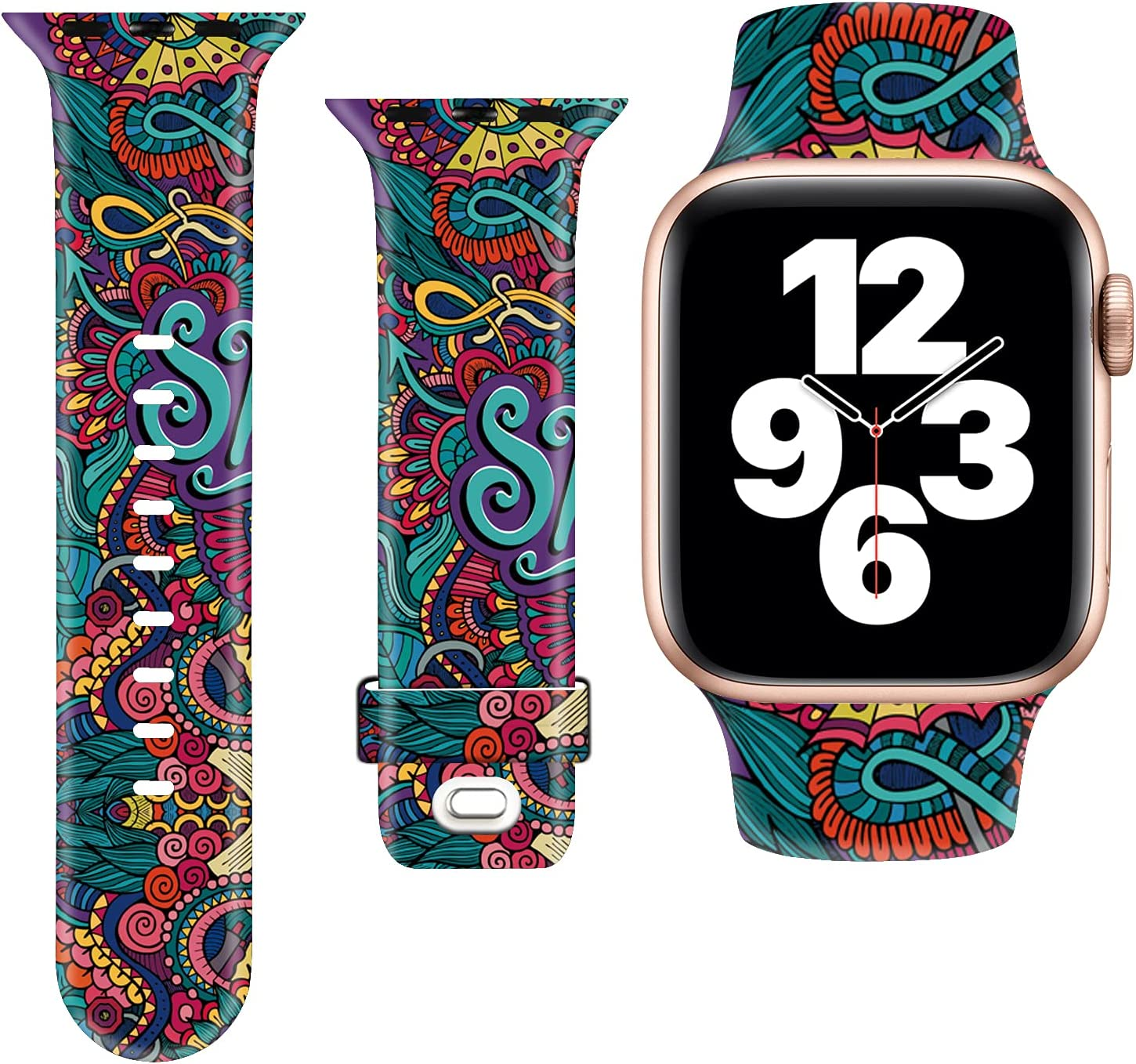 LANGXIAN Cute Print Pattern for iWatch Bands 38mm 42mm, Sport Silicone Strap Compatible with Apple Watch Bands 41mm 45mm 40mm 44mm Women Men for Series 7/6/5/4/3/2/1/SE (38/40/41mm,Totem Flower)