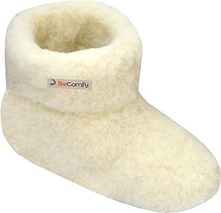 BeComfy Pantoufles Laine de Mouton Chauds Chaussons pour Hommes/Femmes Unisex Semelle en Cuir Ou Antiderapante pour Hiver ...