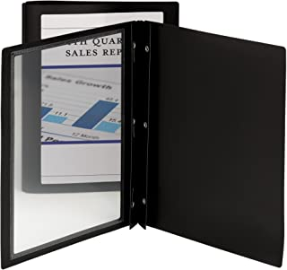 Smead Frame View Poly Report Cover, Three Double Tang Side Fasteners, Letter Size, Black/Clear Front, 5 per Pack (86020)