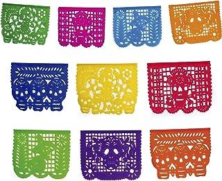 Mictlan Skelletons Dia de los Muertos Mexican Papel Picado Tissue Paper Banner.