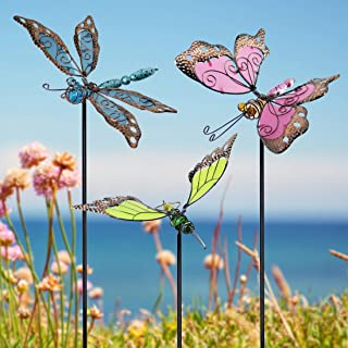 Best Juegoal 34 Inch Butterfly Garden Stakes Decor, Dragonfly Hummingbird Stakes, Glow in Dark Metal Yard Art, Indoor Outdoor Lawn Pathway Patio Ornaments, Set of 3 Review