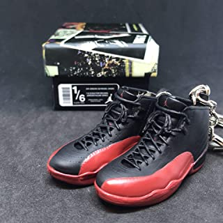 Pair Air Jordan XII 12 Retro Flu Game Black Red OG Sneakers Shoes 3D Keychain 1:6 Figure + Shoe Box