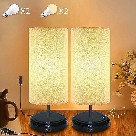 2 Lampe de Chevet Tactile, Yuusei Lampe de Table Dimmable avec Ports de Charge USB, Lampe de Table avec Fonction Touch, 4 LED Ampoule Blanc Chaud Incluse, pour Chambre Bureau Salon