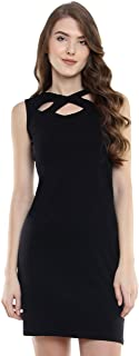 Miss Chase Women's Comfortable Cut-Out Cotton Bodycon Mini Dress