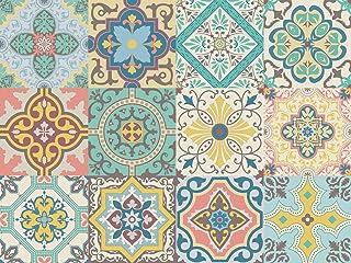 comprar comparacion NossaRua Sintra - 12 Vinilos autoadhesivos con patrón de azulejo portugués, colección Sintra; azulejos de vinilo que imita...