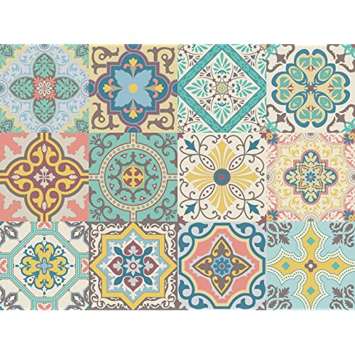 Autocollant Vinyle décoratif Motif carreaux portugais de la collection Belem (12 pcs) (15x15cm)