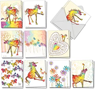 Happy Unicorns - 20 Rainbow Colored Blank Greeting Cards with Envelopes (4 x 5.12 Inch) - Cute Kids Stationery, Artistic Watercolor Drawings - All-Occasion Cards (10 Designs, 2 Each) AM7245OCB-B2x10