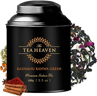 The Tea Heaven- Kashmiri Kahwa| 100grams | Blended with Saffron, Almonds, Spices -100 % Natural Ingredients