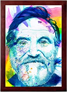 Art of Kyle Willis Bearded Clown - Robin Williams Watercolor Painting Framed 13x19