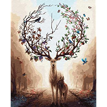 YXQSED Framless Paint by Numbers for Adults Paint by Numbers for Kids Beginner Dream Forest Deer 16x20 Inch
