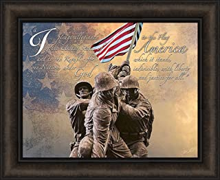 Home Cabin Décor Pledge of Allegiance by Jason Bullard 18x22 Soldiers Military Patriotic Inspirational Flag Americana Framed Art Print Picture
