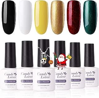 Candy Lover Gel Nail Polish, Halloween Christmas Gold Green Red Selected 6 Fall Colors Set, Soak Off UV LED Nail Gel Polish Home Manicure Varnish Kit