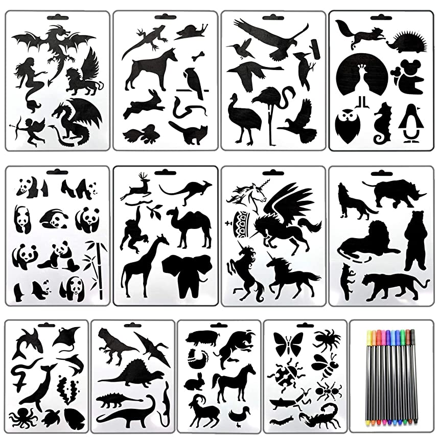 AQUEENLY Drawing Stencils for Kids 16 Pieces Assorted Patterns Painting Stencil Templates for Craft Projects, Scrapbook, with 10 Colors Paint Pens